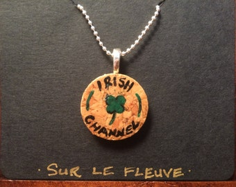 Hand Painted Irish Channel Cork Pendant Necklace