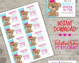 Valentine Bear - Printable Valentine's Day Cards - INSTANT DOWNLOAD