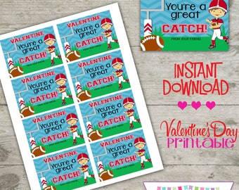 Valentine Football - Printable Valentine's Day Cards - INSTANT DOWNLOAD