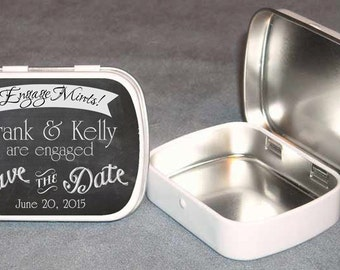 Chalk Board Design Save The Date Engagement Mint Tin Personalized - 15ct