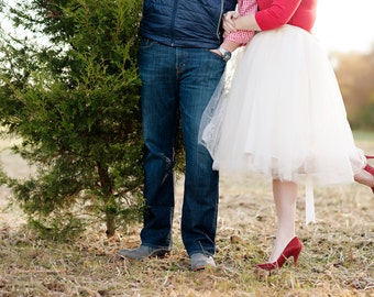 Holiday Tutu // Ivory Women's Tulle Skirt by Kellie Falconer // Engagement Photo Skirt  // Elastic Waistband // Midi Hem