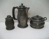 Vintage, Pewter Tea Set, Old Pewter, Roundhead Leadless Pewter, Old English Pewter, 3 Piece Pewter Set,  Hammered Pewter,
