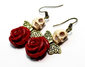 Day of the Dead Dia de los Muertos Frida Angel Gold Fairy Wing Red Rose Sugar Skull Dangle Earrings