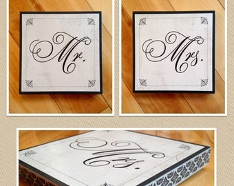 Mr. and Mrs. Signs - 6x6 Inches with Damask Border Around Edges