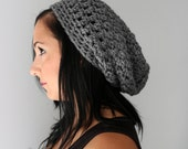 Charcoal Grey Simple Slouchy Beanie Hat for Men or Women,  Fashion Accessories