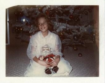 "Vintage Photo ""Sara and Santa"" Christmas Snapshot Photo Antique Photo Black & White Photograph Found Photo Paper Ephemera Vernacular - 12"