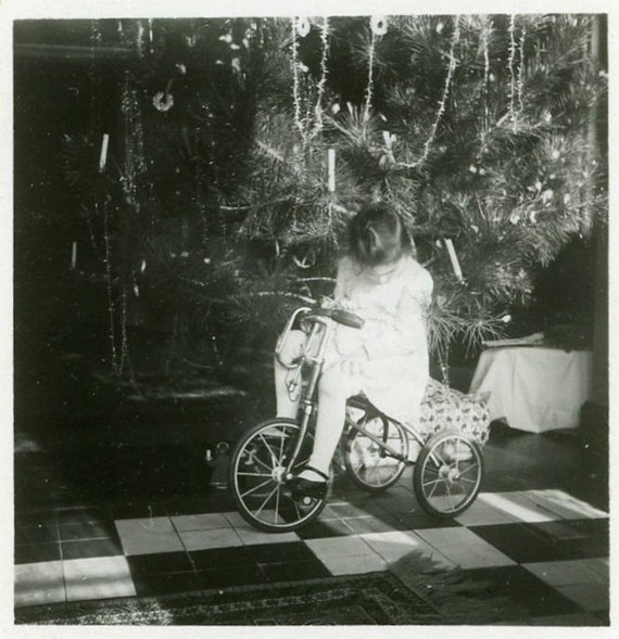 "Vintage Photo ""Christmas Wheels"" Snapshot Photo Old Antique Photo Black & White Photography Found Photo Paper Ephemera Christmas Bike - 42"