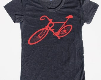 Womens bike bicycle t shirt on american apparel heather black- available in s, m, l, xl- worlswide shipping
