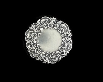 Silver Plated Brass Victorian Style Filigree Round Circle 59mm Cabochon Setting Floral Stamping Qty 1  Dr Brassy Steampunk