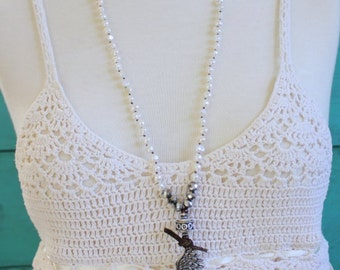 Long Angel Wing Bohemian Necklace, Hand Knotted With White Freshwater Pearls