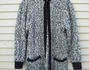 80s / 90s Black And White Nubby Knit Sweater Coat Sweater Dustser