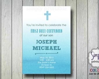 Blue Baptism/Communion Digital Invitation, Watercolor Invite, Ombre Christening Invitation
