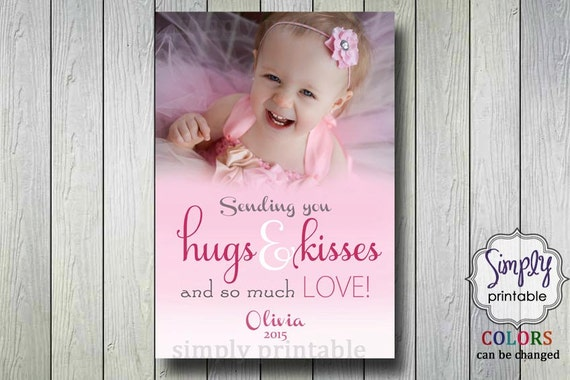 Valentines Photo Card - Hugs and Kisses