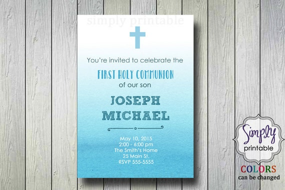 Blue Baptism/Communion Digital Invitation, Watercolor Invite, Ombre Christening Invitation
