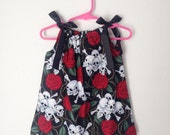 Skulls and Roses Pillowcase Dress - Punk Baby Clothes - Rockabilly Baby