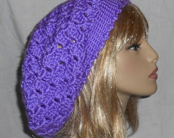 Lavender Crochet Slouchy Hat with Removable Flower - FREE SHIPPING to US and Canada