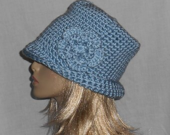 Light Blue Crochet Hat with Removable Flower - FREE SHIPPING to US and Canada