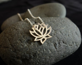 Lotus Necklace lotus flower charm pendant necklace silver bridesmaid gift wedding jewelry small christmas gift holiday
