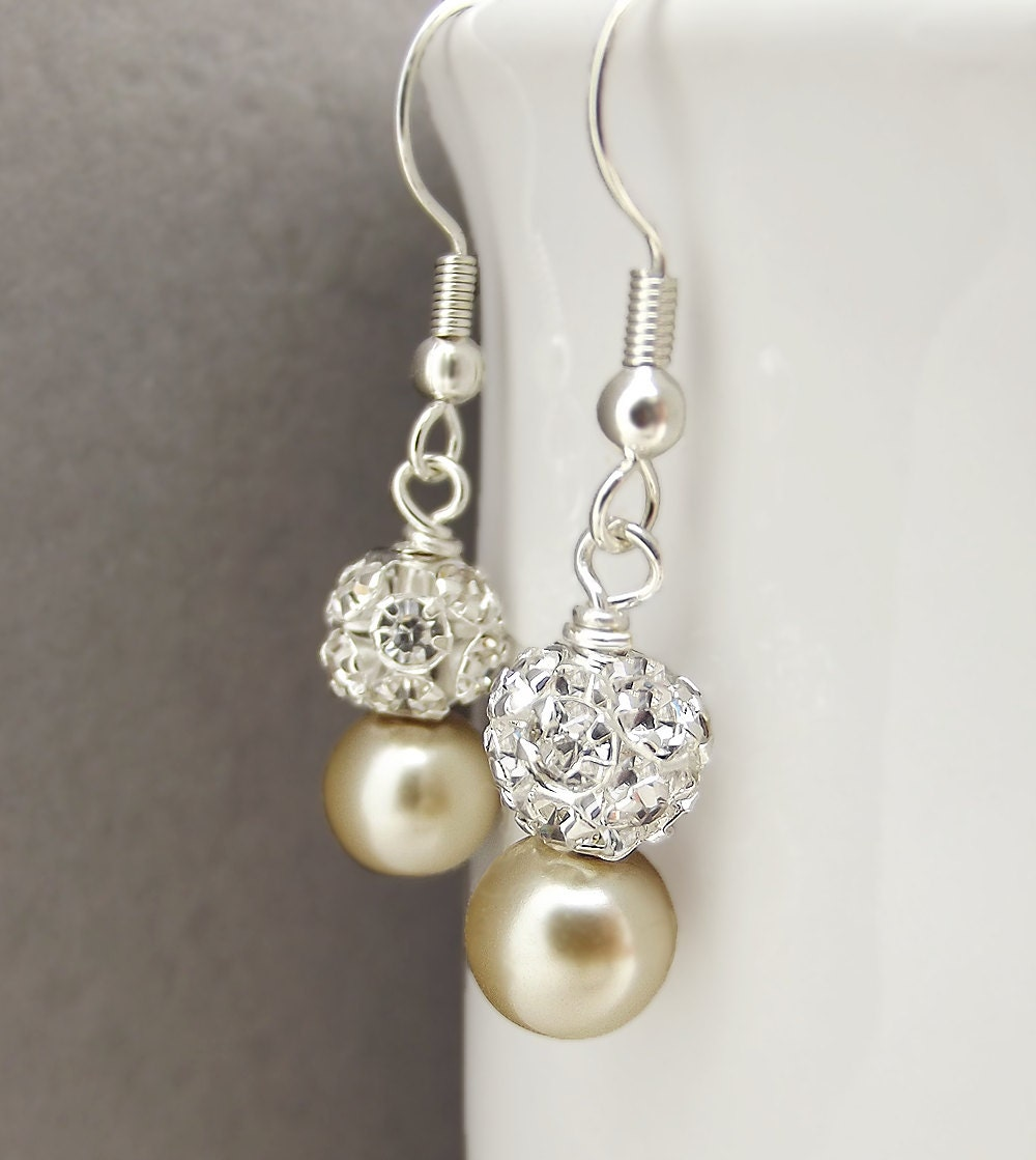 Champagne pearl bridal earrings drop pearl rhinestone for Jewelry for champagne wedding dress