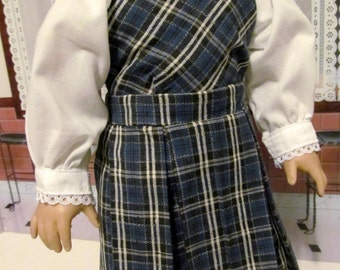 Historical Dress, School Blouse,  Plaid Jumper,  18 inch Doll Clothes