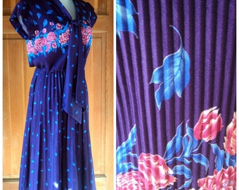 Vintage 70s Dress Accordion Pleated Secretary Purple Floral Ascot Tie 1970s Daydress 36 bust
