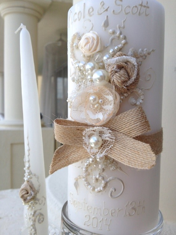 Items Similar To Rustic Chic Wedding Unity Candle Set 3