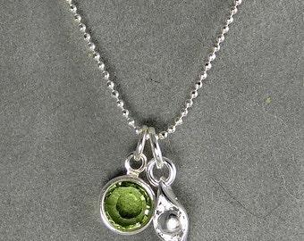 Personalized Pea in a Pod Birthstone Necklace - Silver Custom Necklace - Single Swarovski Birthstone - Gift Idea Mom, Grandma