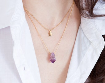 Raw Amethyst Necklace - February Birthstone - Gold Satellite Chain - Rough Gemstone Crystal Point Purple Nugget Boho Style Layering Jewelry