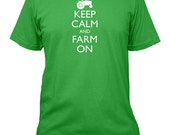 Farming Shirt - Keep Calm and Carry On - FARM ON - 5 Colors Available - Mens Cotton Shirt - Gift Friendly