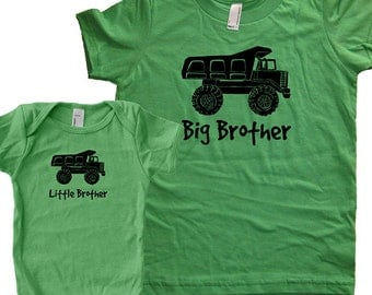 Big Brother Shirt / Little Brother Matching Shirt Set - Brothers Gift Set - Baby Shower New Baby Present - Dump Truck Car Twinning Brothers
