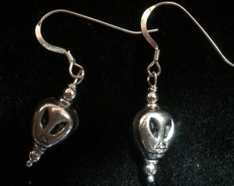 Alien Sterling Earrings-Alien Dangle Earrings