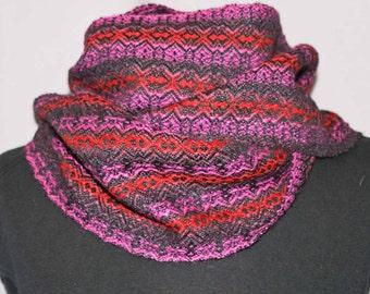 Red, pink, black alpaca silk hand woven scarf; handwoven alpaca scarf
