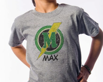 Back to School - Monogrammed Superhero T- Shirt - Letter M Superhero Shirt - Superhero themed birthday -Letter M - Choose your letter
