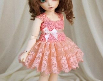 Salmon dress for TINY bjd LittleFee