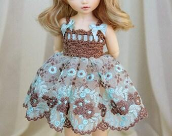 LAST ONE Cappuccino & light mint dress for TINY bjd LittleFee Momocolor 29, Saintbloom