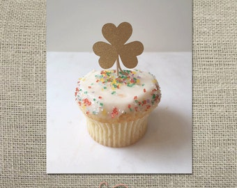 Shamrock Cupcake Topper // Party Pick (Set of 12)
