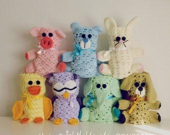 BUNDLE 3 x 15 baby blankie pdf crochet pattern -  amigurumi toy and blanket - newborn baby shower nursery gift blanket -  Instant DOWNLOAD