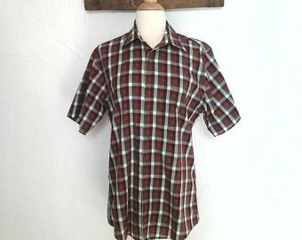 Mens Plaid Short Sleeve Shirt Vintage 70s / 80s Buffalo Plaid - M