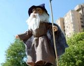 Gandalf - OOAK Needle Felted Wool Sculpture - eco wool felt art doll
