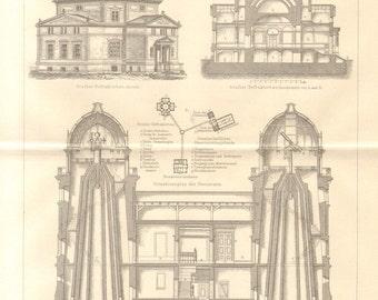 1890 Observatory of Strasbourg Antique Engraving Print