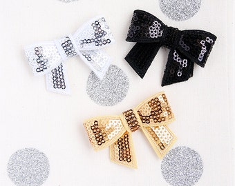 Sequin Bow Applique Embellishment in three colors Gold, Silver, Black