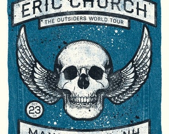 Eric Church Official Screen Printed Concert Poster, Manchester, NH