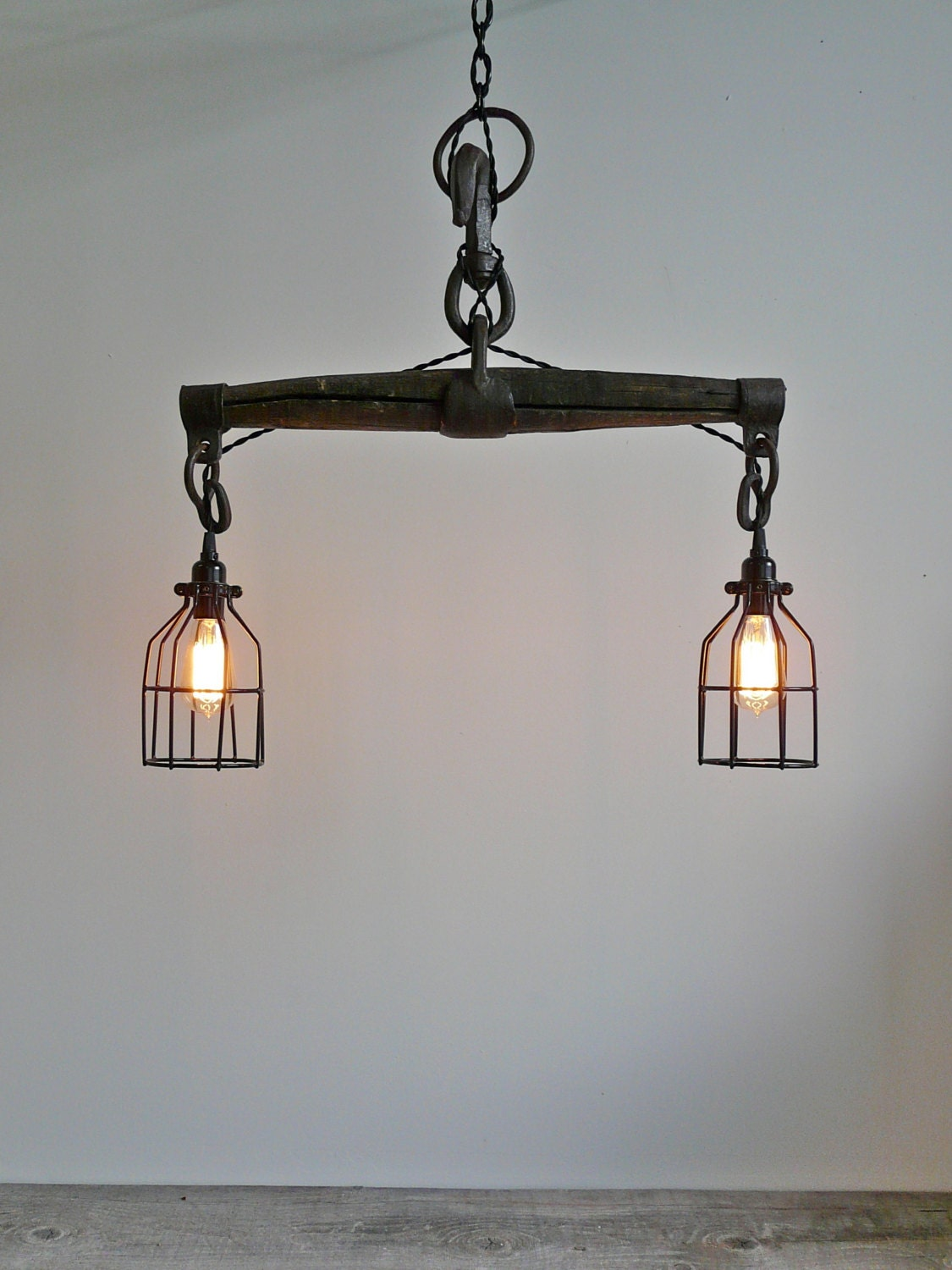 Farmhouse Industrial Light Antique Oxen Yoke Rustic by UrbanAnalog