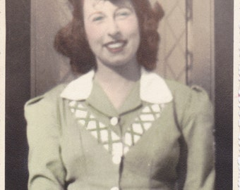 Smiling Blue Eyes- 1940s Vintage Photograph- Beautiful Woman in Sage Green Dress- Hand Tinted Portrait- Old Photo- Snapshot- Paper Ephemera