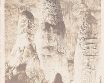 Twin Domes, Big Room- Carlsbad Cavern, New Mexico-1930s Vintage Photograph- National Park Souvenir- Real Photo Postcard- Old RPPC- Ephemera