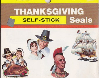 Thanksgiving Stickers- 1960s Vintage Envelope Seals- SET of 47- Self-Stick Seals- Amscan Inc- 60s Decor- Retro Holiday- Paper Ephemera