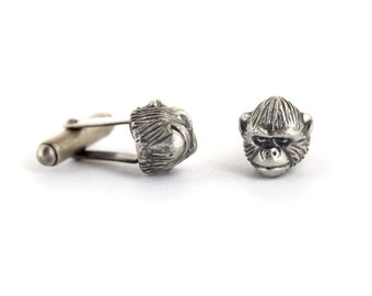 Gorilla Cufflinks, Silver Gorilla Cufflinks, Animal Cufflinks, Unique Cufflinks, Funny Cufflinks