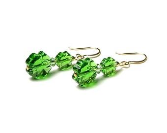 St. Patrick's Day Earrings Fern Green Swarovski Crystal Four Leaf Clover Lucky Spring Jewelry Emerald Sparkle Gift For Women Teacher Teen