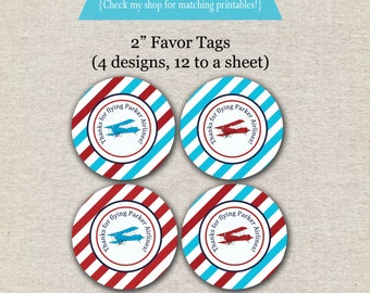 Vintage Airplane Favor Tags - red and aqua | Vintage Airplane Thank You Tags | Vintage Airplane Party Printables | Aviator Party