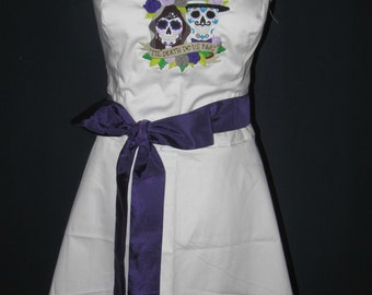 Day of the dead embroidered wedding dress with sash